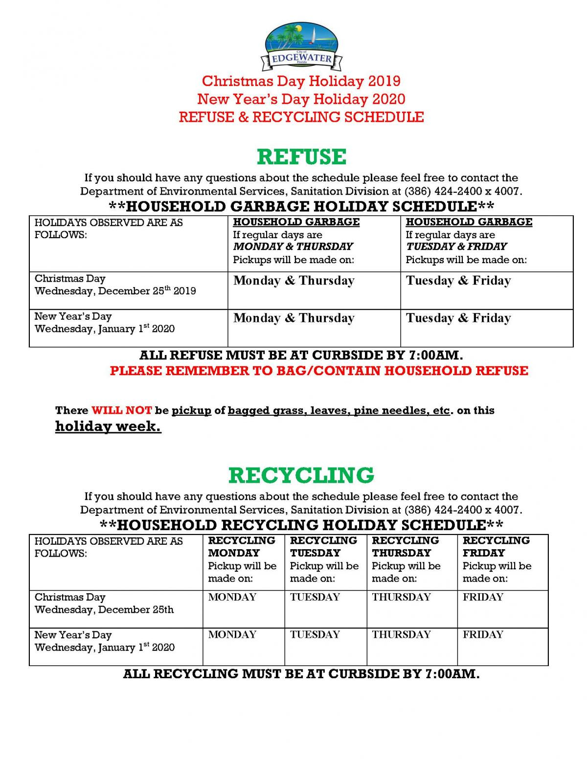 Refuse Recycling Holiday Schedule | City of Edgewater Florida